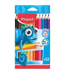 """Карандаши цветные пластиковые Maped """"Jumbo"""" 12цв., утолщен., трехгран., заточен., картон, европодвес"""