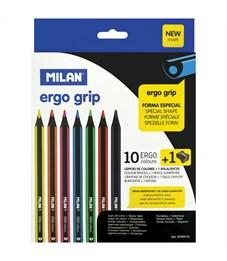 """Карандаши цветные пластиковые Milan """"Ergo Grip"""" 10цв.,утолщ.,трехгр. заточ.,картон,европ.,с точилкой"""