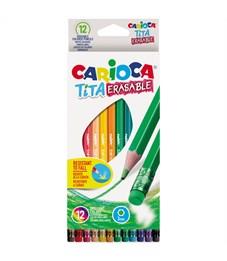 """Карандаши цветные пластиковые стираемые Carioca """"Tita Erasable"""", 12цв., заточен., картон, европодвес"""