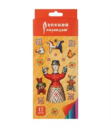 """Карандаши цветные Русский карандаш """"Фольклор"""", 12цв., заточен., картон, европодвес"""