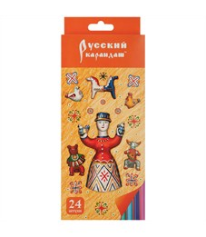 """Карандаши цветные Русский карандаш """"Фольклор"""", 24цв., заточен., картон, европодвес"""