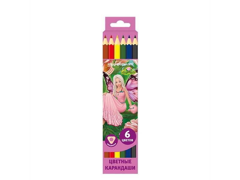 Карандаши цветные SchoolФормат Цветочные Феи 6 цв трехгранные