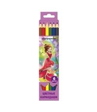 Карандаши цветные schoolФормат Сказочные принцессы, 6 цветов