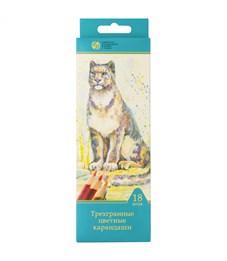 """Карандаши цветные Сибирский кедр """"Дикие кошки"""", 18цв., трехгран., заточен., картон, европодвес"""