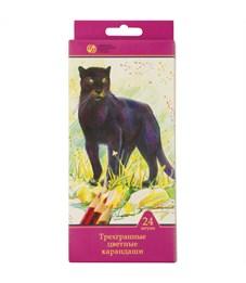 """Карандаши цветные Сибирский кедр """"Дикие кошки"""", 24цв., трехгран., заточен., картон, европодвес"""