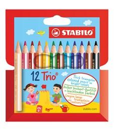 """Карандаши цветные Stabilo """"Trio"""", 12цв., трехгран., утолщенные, заточен., картон, европодвес"""