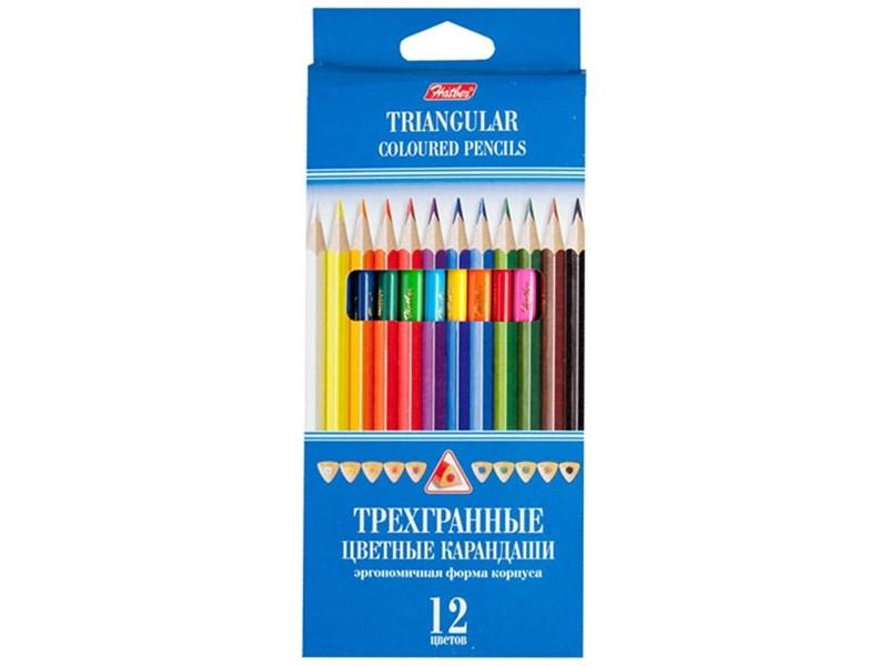 Карандаши цветные трехгранные Hatber, 12 цветов