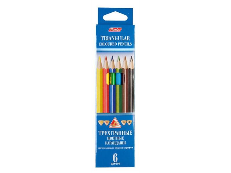 Карандаши цветные трехгранные Hatber, 6 цветов