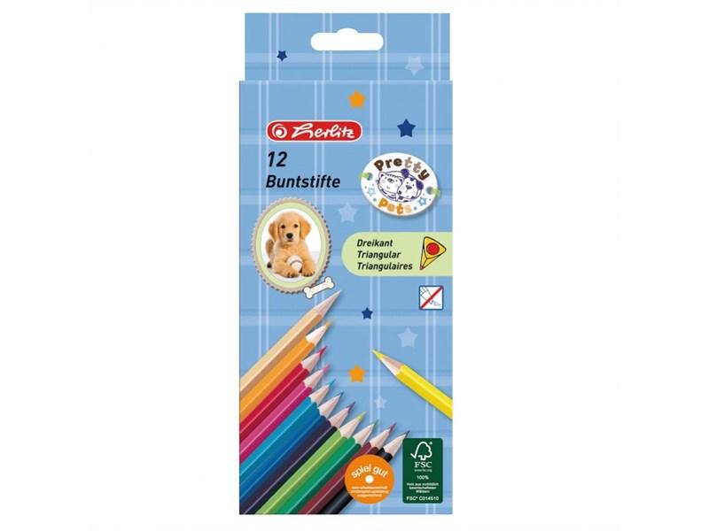 Карандаши цветные трехгранные Herlitz Pretty Pets 12 цветов