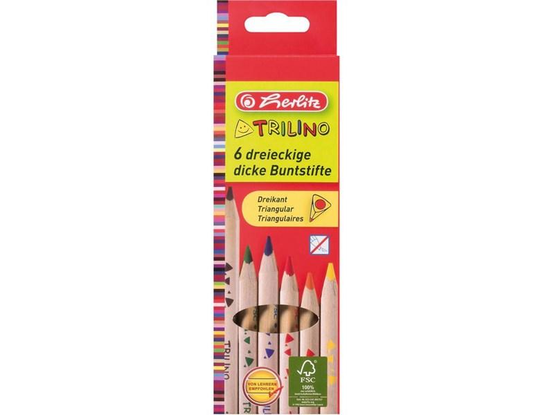 Карандаши цветные утолщенные трехгранные Herlitz Trilino, 6 цветов