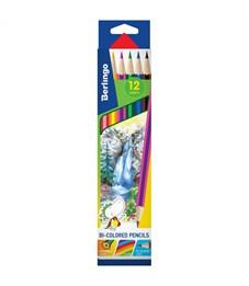 """Карандаши с двухцветным грифелем Berlingo """"Водопад"""", 06шт., 12цв., картон., европодвес"""