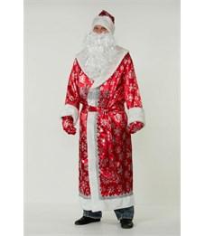 Карнавальный костюм для взрослых Батик Дед Мороз сатин красный