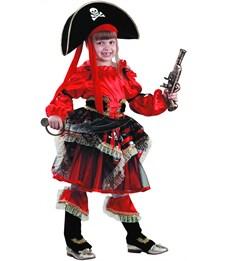 Карнавальный костюм Пиратка красная, Батик
