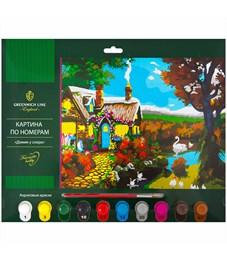 """Картина по номерам Greenwich Line """"Домик у озера"""" A3, с акриловыми красками, картон, европодвес"""