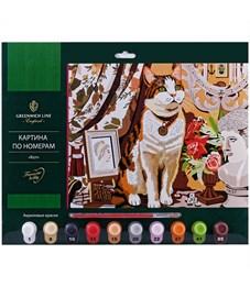 """Картина по номерам Greenwich Line """"Кот"""" А3, с акриловыми красками, картон, европодвес"""