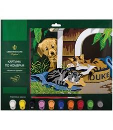 """Картина по номерам Greenwich Line """"Котята и щенок"""" A3, с акриловыми красками, картон, европодвес"""