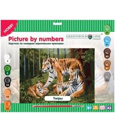"Картина по номерам Greenwich Line ""Тигры"" A3, с акриловыми красками, картон, европодвес"