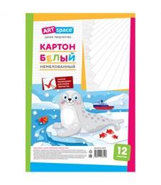 """Картон белый A4, ArtSpace """"Морской котик"""", 12л., немелованный, в пакете"""
