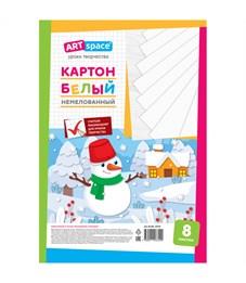 """Картон белый A4, ArtSpace """"Снеговик"""", 8л., немелованный, в пакете"""