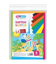 Картон цветной A4, ArtSpace, 8л., 8цв., немелованный, в пакете с европодвесом