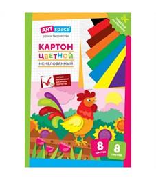 """Картон цветной A4, ArtSpace """"Петушок"""", 8л., 8цв., немелованный, в папке"""
