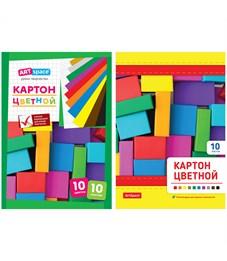 Картон цветной A5, ArtSpace, 10л., 10цв., немелованный, на клею