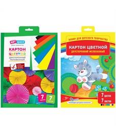 Картон цветной двусторонний A4, ArtSpace, 7л., 7цв., мелованный, в папке с европодвесом