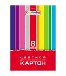 """Картон цветной двусторонний A4, Hatber """"Creative Set"""", 8л., 8цв., в папке"""