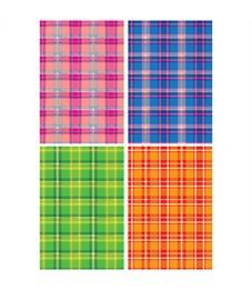 """Картон цветной с тиснением A4, Апплика """"Шотландка"""", 4л., в папке"""