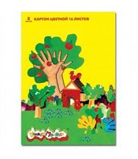Картон цветной немелованный Каляка-Маляка А4, 8 цветов, 16 листов