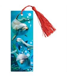 """Закладка для книг 3D с линейкой, 150*55мм, ArtSpace """"Дельфины"""", декоративный шнурок"""