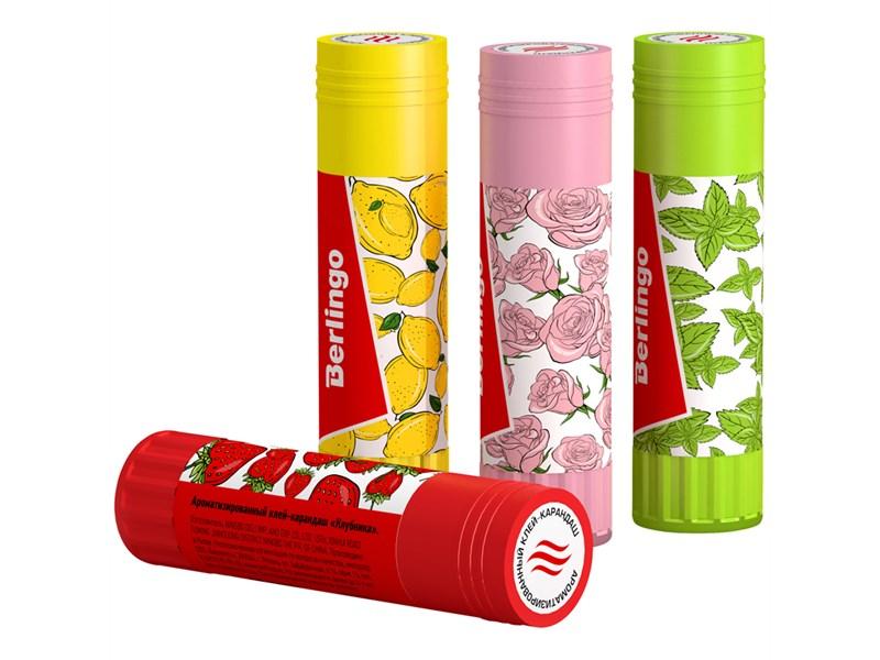 """Клей-карандаш Berlingo """"Aroma"""", 21г, ароматизированный (мята, лимон, клубника, роза)"""