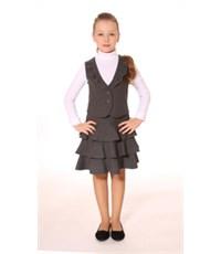 Комплект для девочки (Юбка+жилетка) Смена А21 серый
