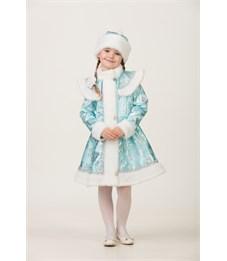 Карнавальный костюм Батик Снегурочка сатин бирюза