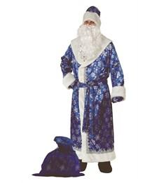 Карнавальный костюм для взрослых Батик Дед Мороз сатин синий