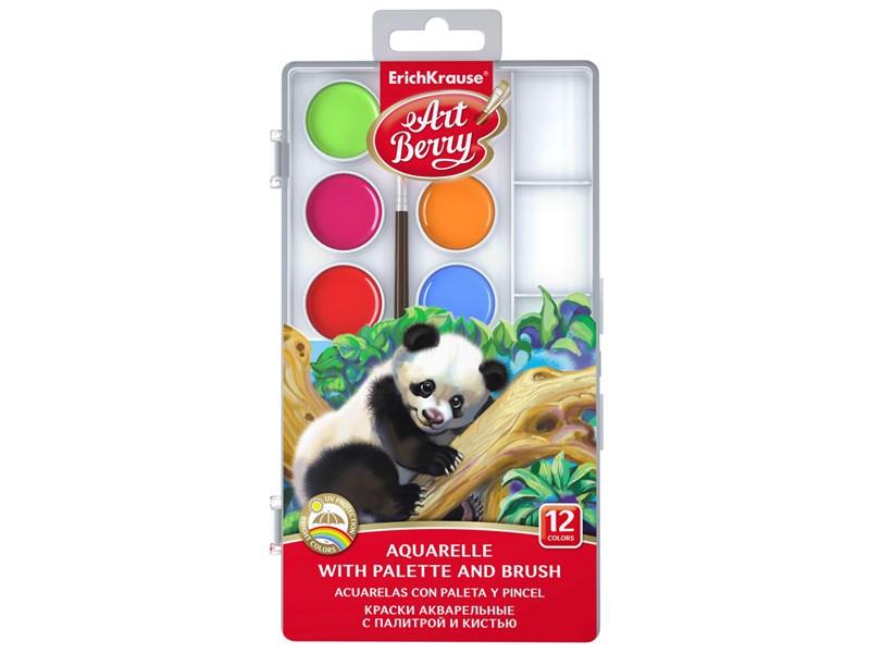 Краски акварельные ArtBerryс УФ защитой яркости 12 цветов с кистью и палитрой