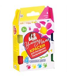 "Краски пальчиковые Гамма ""Умная Мама"", 04 цвета, 40мл, неоновые, картон"