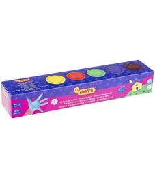Краски пальчиковые JOVI, 05 цветов, 175г, картон