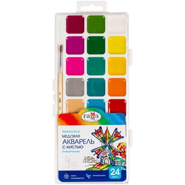 """Акварель Гамма """"Классическая"""", медовая, полусухая, 24 цветов, с кистью, пластик, европодвес"""