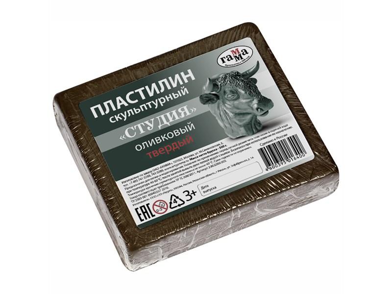 """Пластилин скульптурный Гамма """"Студия"""", оливковый, твердый, 500г"""