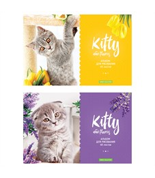 "Альбом для рисования 40л., А4, на скрепке ArtSpace ""Kitty & Flower"""