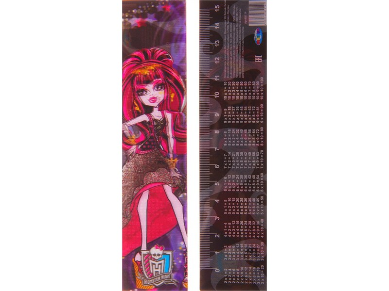 Линейка пластиковая 15 см Monster High 3D с таблицей