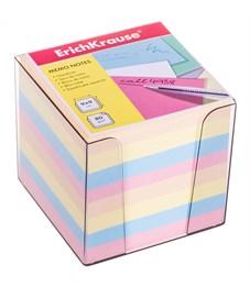 Блок для записи Erich Krause, 9*9*9см, пластиковый бокс, цветной