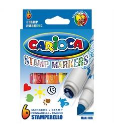 """Фото 2. Фломастеры-штампы двусторонние Carioca """"Stamp Markers"""", 06цв., смываемые, картон, европодвес"""