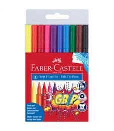 """Фломастеры Faber-Castell """"Grip"""", 10цв., трехгранные, смываемые, пластик.уп., европодвес"""