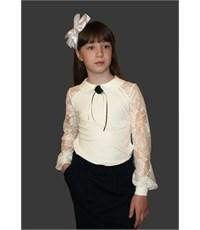 Блузка Mattiel с кружевными рукавами и воротничком молочная