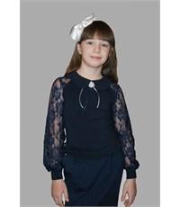 Блузка Mattiel с кружевными рукавами и воротничком синяя