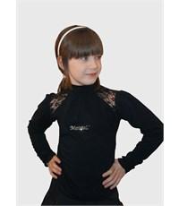 Блузка Mattiel с воротником-стойкой и вставками кружева на плечах синяя
