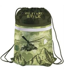 """Мешок для обуви 1 отделение Berlingo """"Military"""", карман на молнии, светоотражающая полоса"""