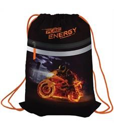 "Мешок для обуви Berlingo ""Energy"", 410*490мм, световозвращающая лента, 1 отд., карман на молнии"